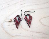 Little Dagger Lasercut Leather Earrings - Red
