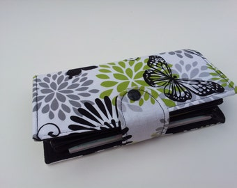 Cash Envelope Wallet, Cash Budget, Bifold Wallet, Coupon Holder -Glamour Butterfly- for use with the Dave Ramsey System