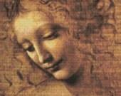 Leonardo Da Vinci 'La Scapigliata'- Counted Cross Stitch Kit - DMC materials