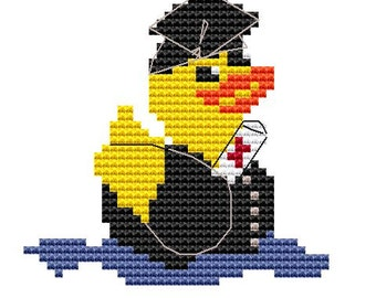 Modern Cross Stitch Kit 'Graduation Duck' Cross Stitch Kit - Duck