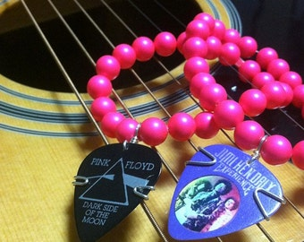 Neon Pink Beaded Bracelet with Pink Floyd Guitar Pick