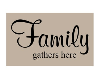 FAMILY GATHERS Here Vinyl Wall Decal Q-100