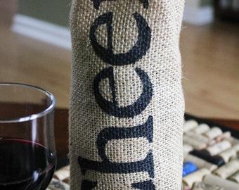 CHEERS Printed Burlap Wine Bottle Bag