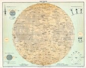 1890 Map of the Moon Original Vintage  (moon1)