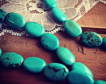 "1 strand 16"", 25 beads, 10mm x 14mm diameter, Oval Turquoise Beads BB047"