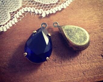2 Pcs Sapphire Blue Crystal Tear Drop Gems Jewels Orange Drop Gem Charm Antique Bronze  (AY053)