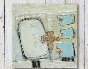 """Small Original Painting - Abstract - Mixed Media - Size 8"""" x 8"""" (20cm x 20cm)"""