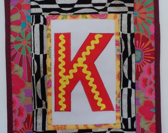 Quilt Applique Alphabet  - Quilt Childrens Wall Hanging - Quilt Handmade Mini  - Quilt Small applique -  Childrens Wall Quilt
