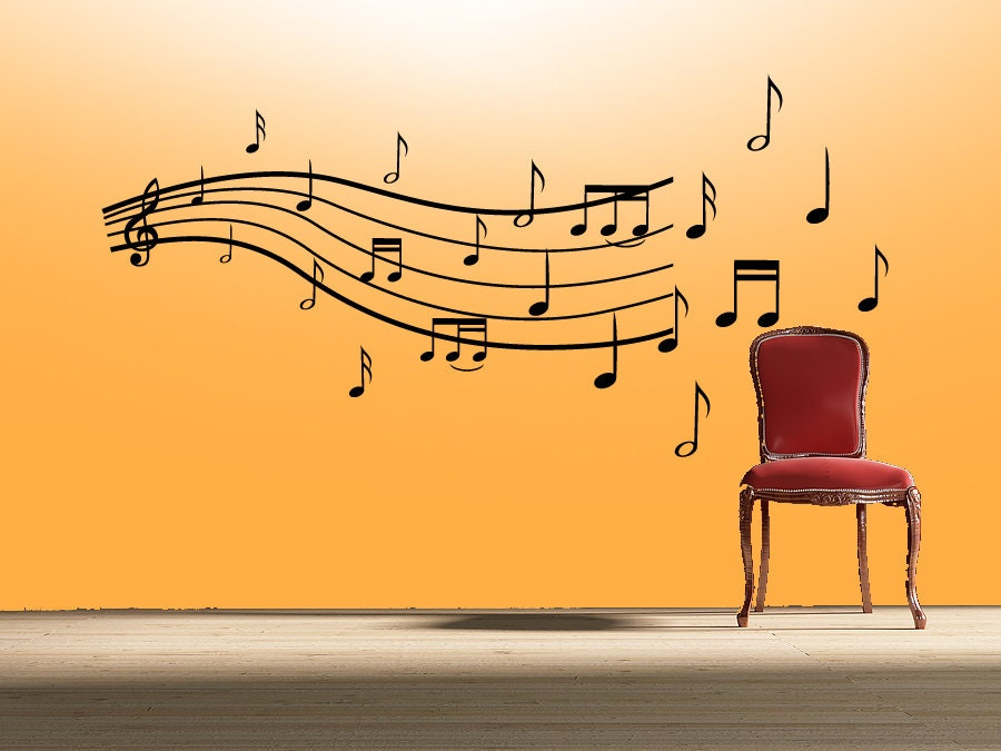 music notes wall decal sheet music wall decal. Black Bedroom Furniture Sets. Home Design Ideas