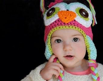 baby hat, crochet baby hat, owl hat, crochet owl hat, kids hat, girls hat