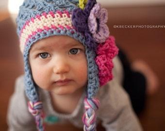 kids hat, girls hat, little girls hat, earflap hat, hat with flowers, baby hat