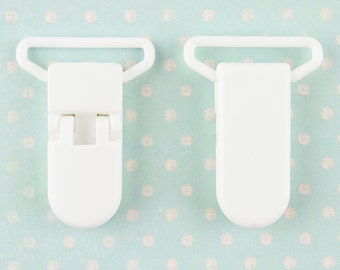 10 White Plastic Pacifier Soother/Paci/Dummy/Nuk/MAM/Bib/Toy Holder Clips (Ships from the USA)