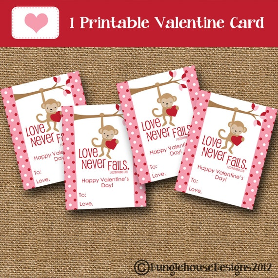 Kids Valentine Card Monkey Valentine DIY PRINTABLE Christian Scripture Bible Verse Valentine for Girls Children