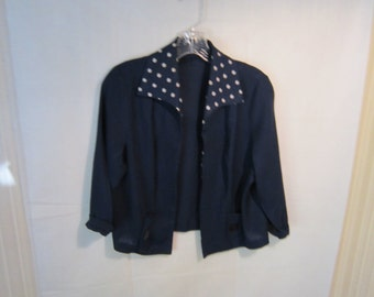 60's Blue Spotted Cropped Jacket