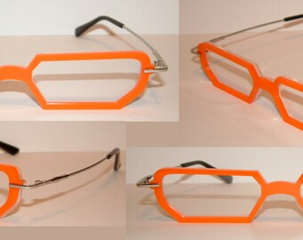 Anime orange frame clear lens cosplay costume glasses