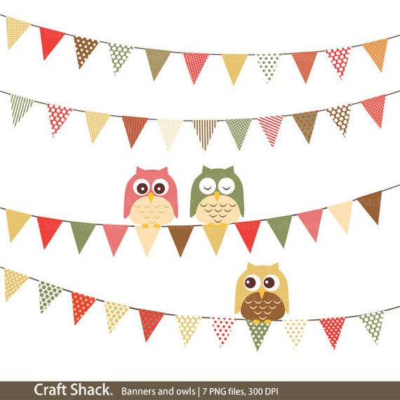 Items similar to Banners and owls Clipart (7 PNG files) cute owls on ...