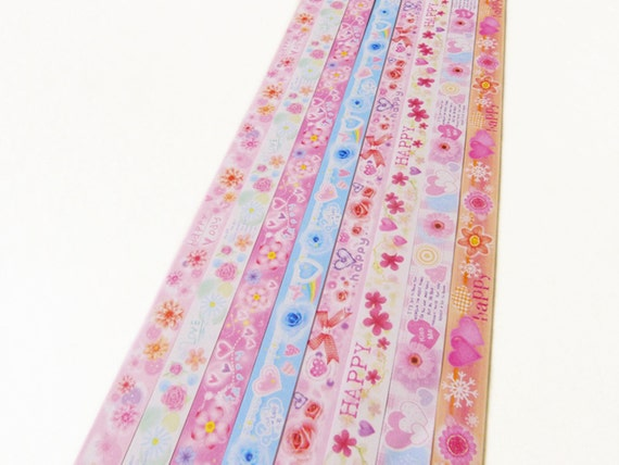 Pastel floral origami lucky star paper strips gift folding diy for Lucky star folding