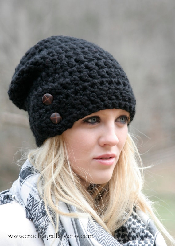 Slouchy Beanie Hat With Two Buttons Chunky Crochet Winter Hat THE DARTMOOR Black