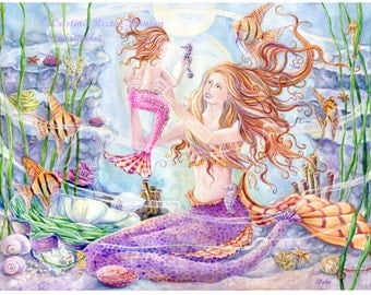 Mermaids Art print, Mother and Child Angel Fish Mermaids with Angel fishes and Seahorses in Coral Reef Scene, 8 x10 art print