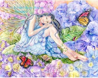 Fairy Art , Hydrangea Fairy with Monarch butterflies, lady bug, garden snail  Fairy art print, 8 x10 Fairy Art  print