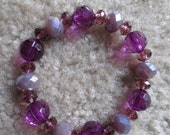 FREE EARRINGS and FREE Shipping with Purple Stretchy Bracelet with Crystals