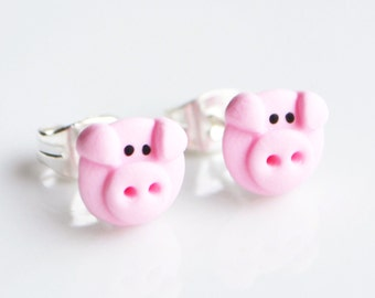 Pig Stud Earrings, Fimo, Polymer Clay, Miniature