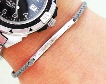 Mens bracelet friendship bracelet - nylon cord with metal link bead bar