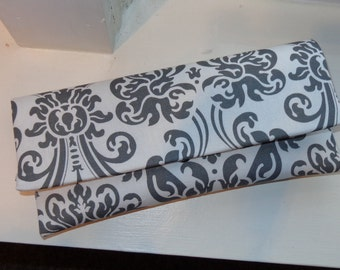 White and Gray Damask Clutch- Wedding Clutch, Bridesmaid Clutch, Gray Clutch