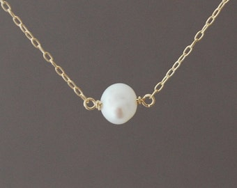 White Freshwater Pearl Necklace in gold, rose gold and sterling silver