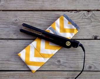 Yellow Chevron Print Travel Flat Iron Case, Curling Iron Case,, Hot Iron Case