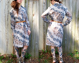 Vintage // Mod Grunge Flower Power Dress // Floral Maxi Gypsy // Size M