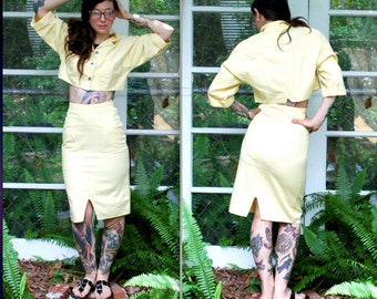 Vintage // Rare Pale Yellow Two Piece Crop top skirt set // Grunge Pastel 90's // Pockets // Small 2 4 Wild Rose