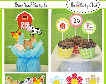 Barn Yard,  Party Invitations & Decorations - Printable Party Kit - Editable Text you personalize at home - Instant Download