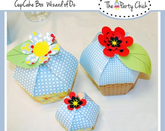 Printable Treat box, Cup Cake,  INSTANT DOWNLOAD,  Co ordinates with Wizard Of OZ kit, 2 sizes 2 patterns
