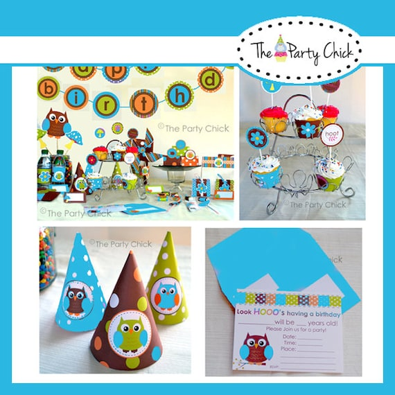 Owl Hoot,  Party Invitations & Decorations - Printable Party Kit - Editable Text you personalize at home - Instant Download