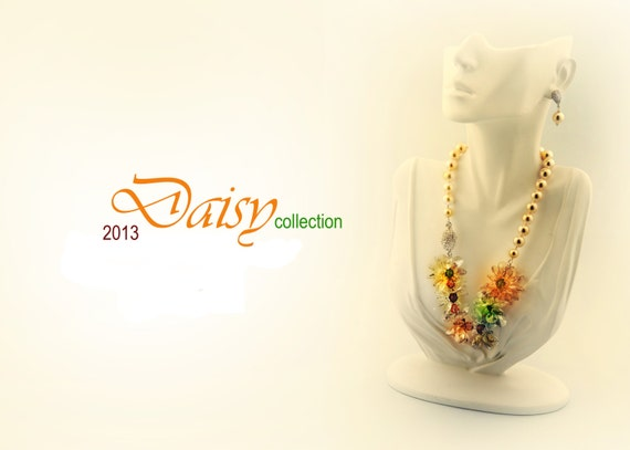 CRYSTAL DAISY statement necklace - made to order