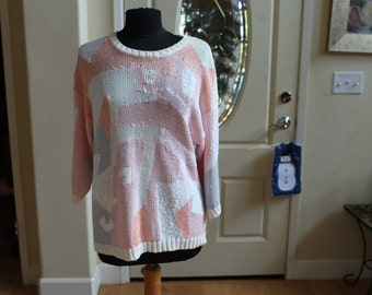 Women's Vintage White and Pastel Colored Sweater