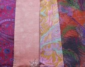 4 Large Vintage Silk Sari Pieces F30