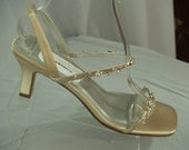 Size 9.5 Gold Wedding shoes, crystals, straps, medium heel, Thin Strap Sandal, Open Toe Slingback, Gold With Rhinestone Embellishment