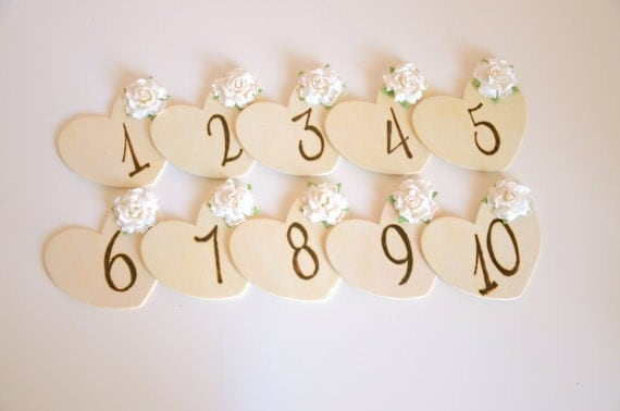 Heart shaped rustic  table numbers - custom listing for Brooke