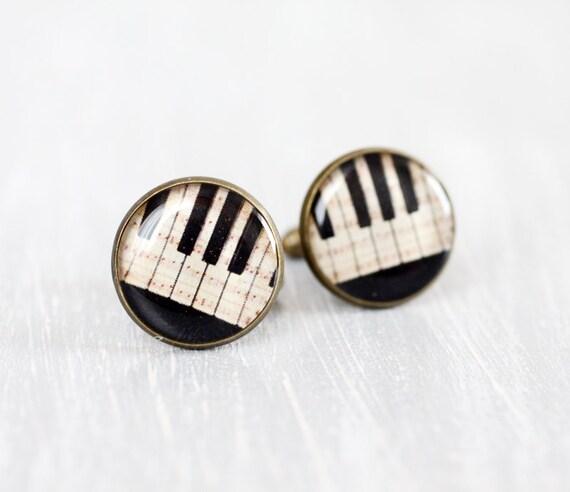 Men cufflinks - Music cufflinks - Vintage Piano keys - Cuff links for men