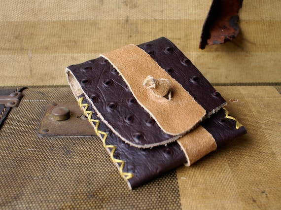 Business Card Case in Brown Ostrich Leather with Mustard Stitching