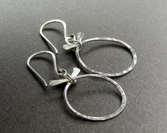 Zen Collection Sterling Silver Earrings, Hammered Silver Hoop Earrings, Modern Silver Earrings Item E101