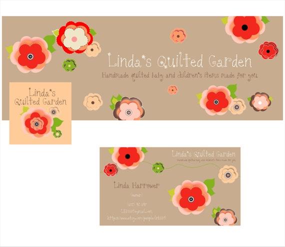 Custom Listing Facebook Timeline Facebook Avatar Business Card Flower Felt Pin Design for Linda Harrower Etsy shop 3 files in Beige Red