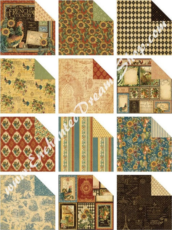 12 Pc Graphic 45 French Country Paper Collection 12 X
