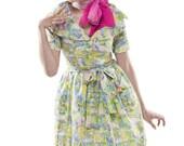 1950s Style Village Print Dress