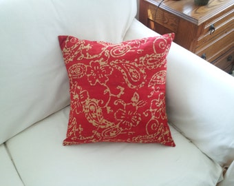 Red and Taupe Batik 18""