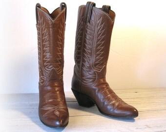 Vintage Cowboy Boots, TONY LAMA Black Label / Chestnut Brown All Leather with Beige Inlays & Tall Riding Heels, Women's size 5 B / 5.5