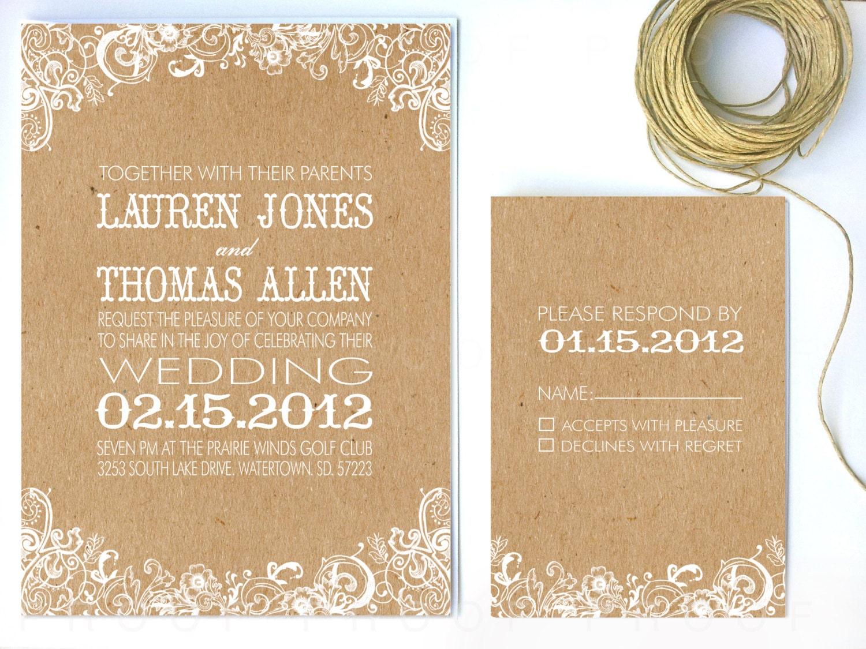 Paper For Wedding Invitation: Items Similar To Wedding Invitation White Floral & Kraft