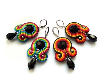 Soutache earrings - COLORFUL sparkling, fasionable and very elegant -MINI RAINBOWS